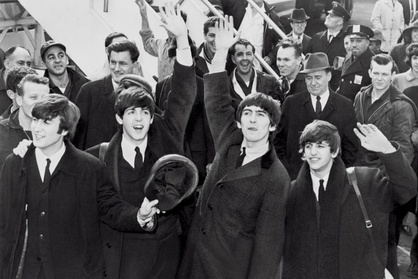 Group picture of the band, The Beatles. It was quite famous in 1965