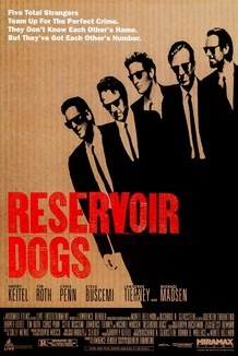 the poster for the movie Reservoir Dogs, showing five men in black suits