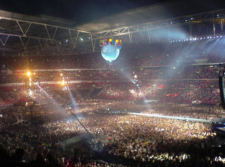 Take That playing Wembley Stadium in the final leg of their Circus Live Tour in July 2009